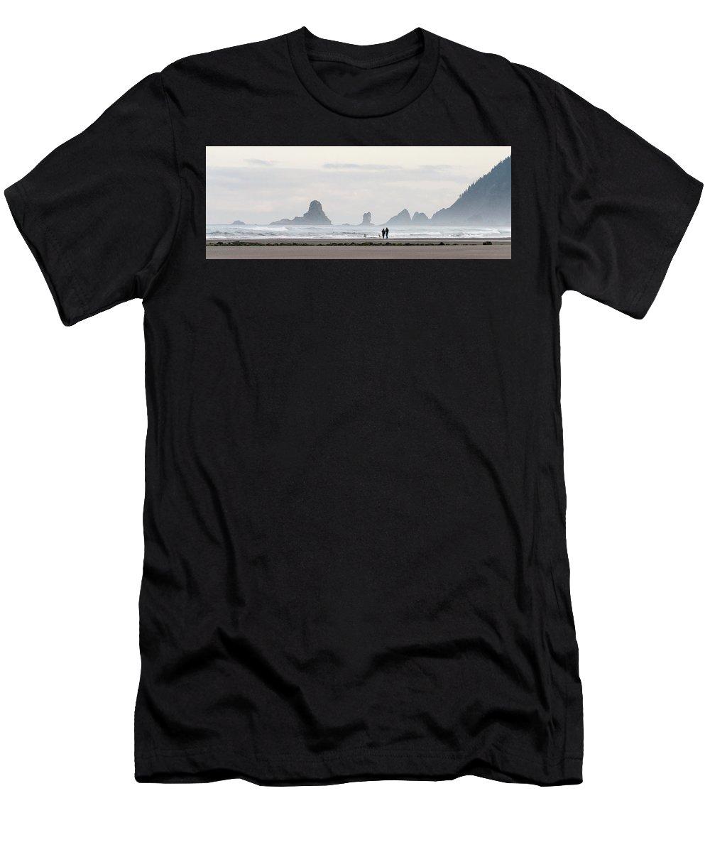 Oregon Men's T-Shirt (Athletic Fit) featuring the photograph Cannon Beach Walk 6214 by Bob Neiman