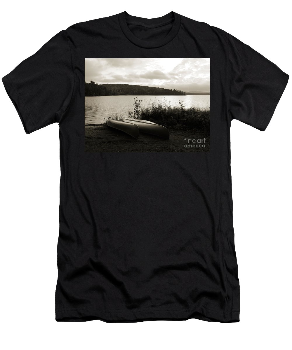 Lake Men's T-Shirt (Athletic Fit) featuring the photograph Canoe On A Shore Of A Lake At Dawn by Oleksiy Maksymenko