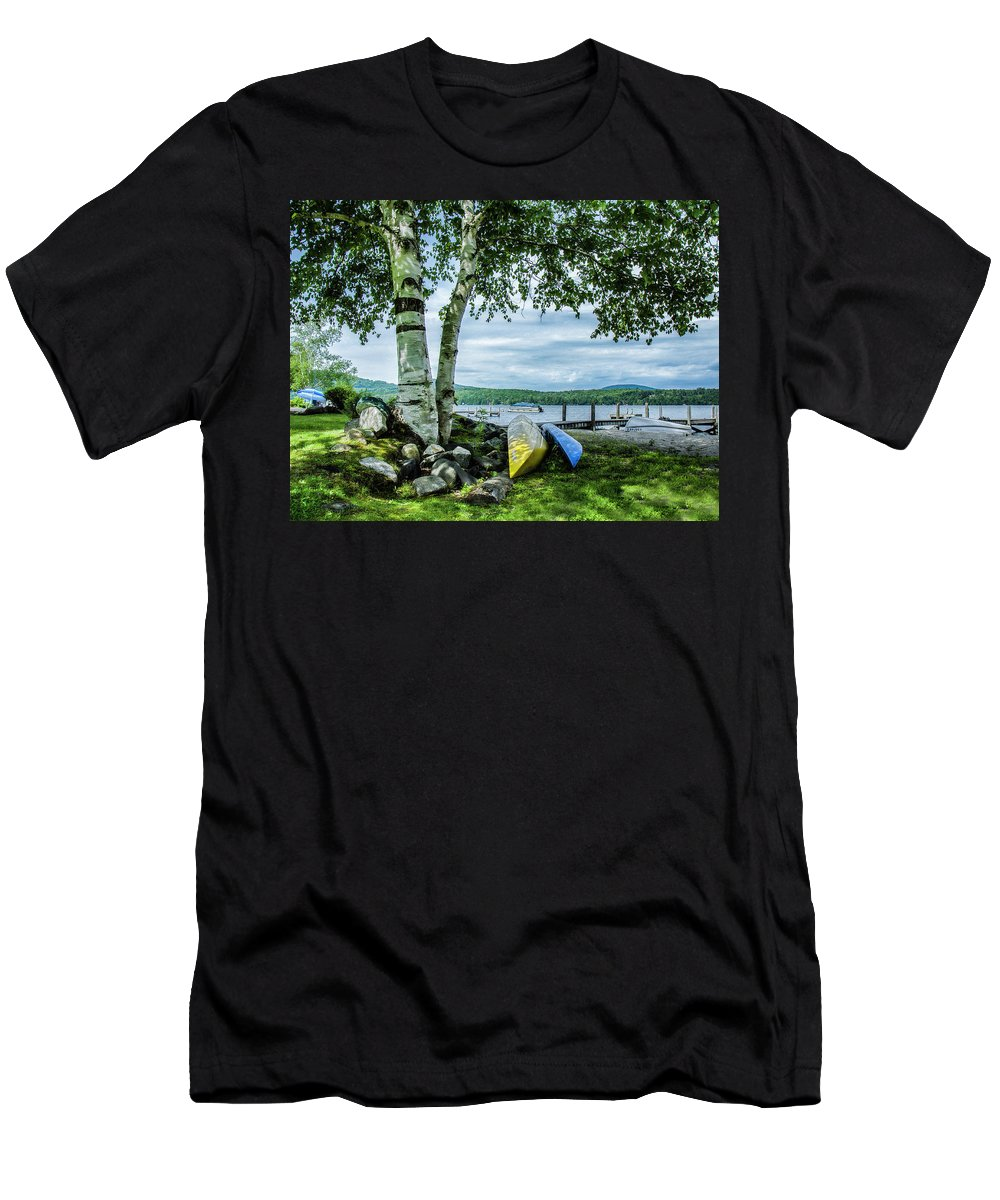 Lake Men's T-Shirt (Athletic Fit) featuring the photograph Canoes by Rosemary Jardine