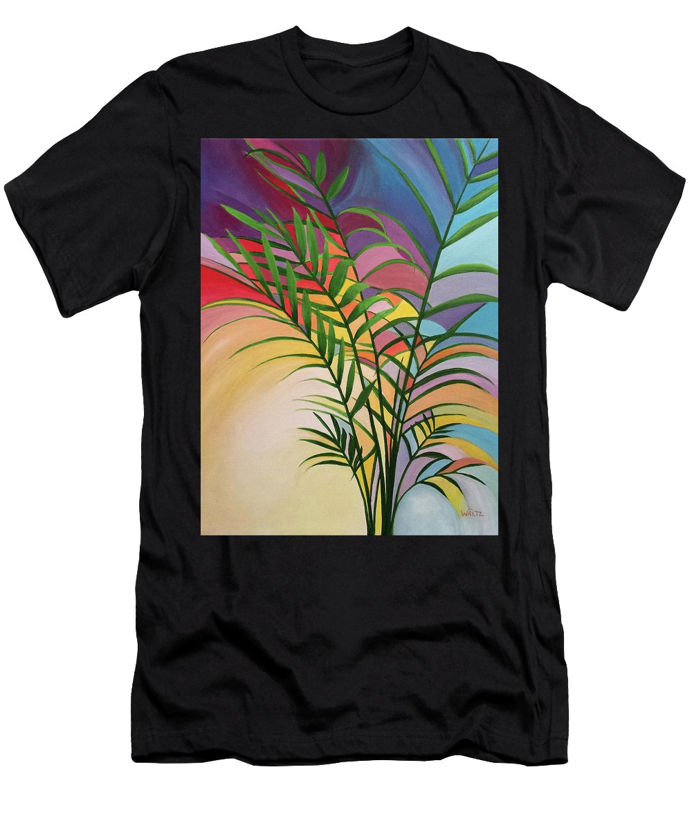 Stained Glass Style Painting Palm Plant Leaves Sunset Orange Red Blue Purple Yellow Men's T-Shirt (Athletic Fit) featuring the painting Cantata Curves by Beth Waltz