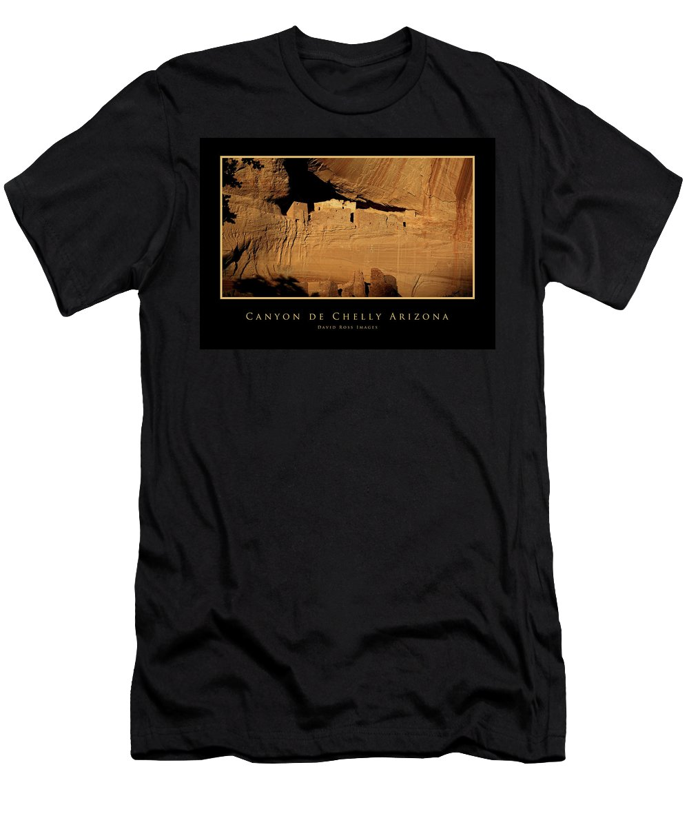 Anasazi Men's T-Shirt (Athletic Fit) featuring the photograph Canyon De Chelly Arizona Black Border by David Ross