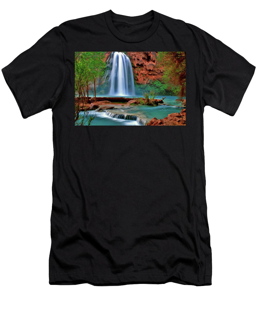 Southwest Men's T-Shirt (Athletic Fit) featuring the photograph Canyon Falls by Scott Mahon