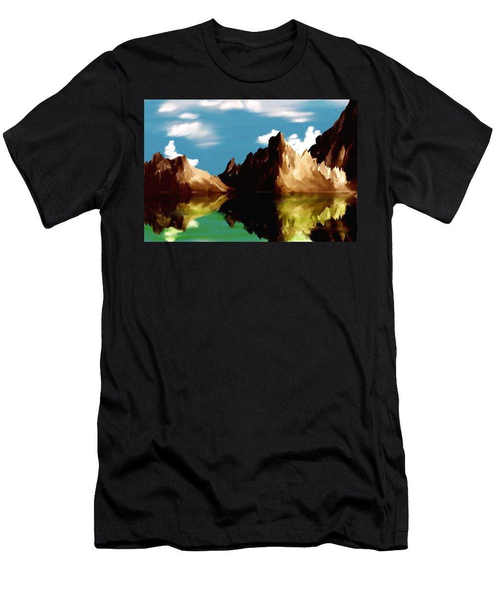 Digital Art Men's T-Shirt (Athletic Fit) featuring the digital art Canyon Lake by David Lane