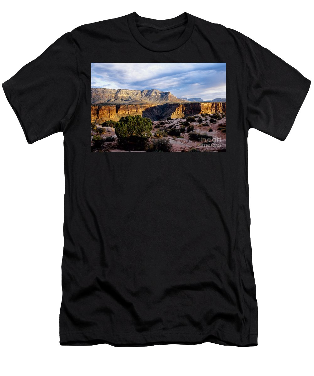 Toroweap Men's T-Shirt (Athletic Fit) featuring the photograph Canyon Walls At Toroweap by Kathy McClure