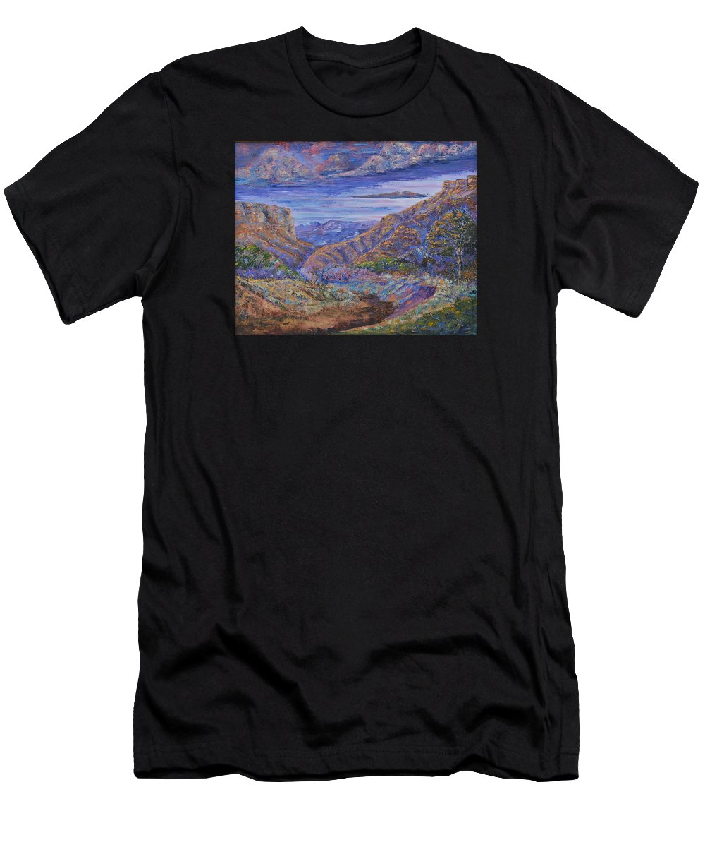 Landscape Men's T-Shirt (Athletic Fit) featuring the painting Canyonlands by Michael LaZar
