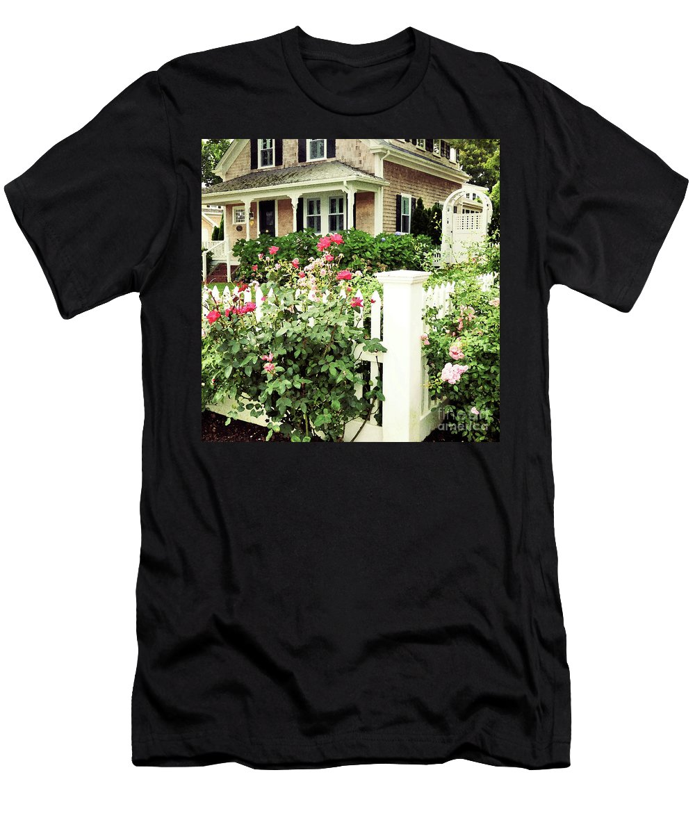 Cape Cod Men's T-Shirt (Athletic Fit) featuring the mixed media Cape Roses by Sharon Eng