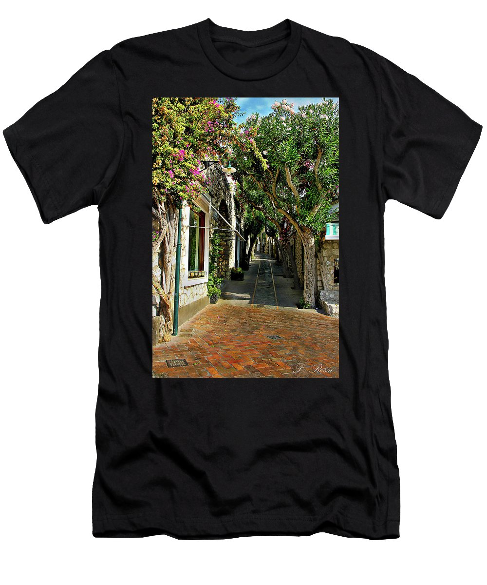 City Street Men's T-Shirt (Athletic Fit) featuring the photograph Capri Street by Pedro Rossi
