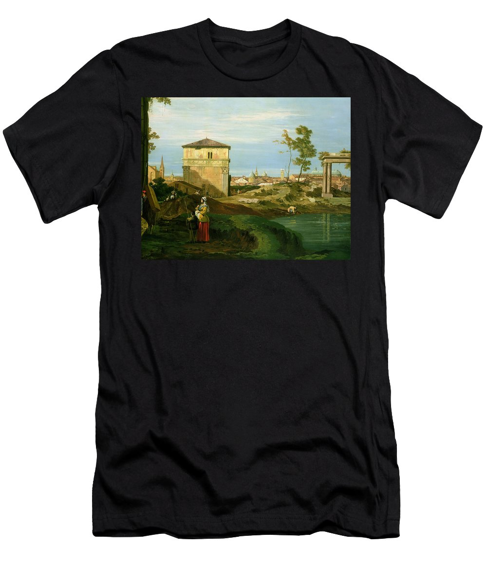 Canaletto Men's T-Shirt (Athletic Fit) featuring the painting Capriccio With Motifs From Padua by Canaletto