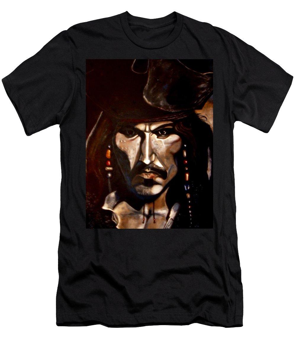 Captain Jack Sparrow Men's T-Shirt (Athletic Fit) featuring the painting Captain Jack Sparrow by Herbert Renard