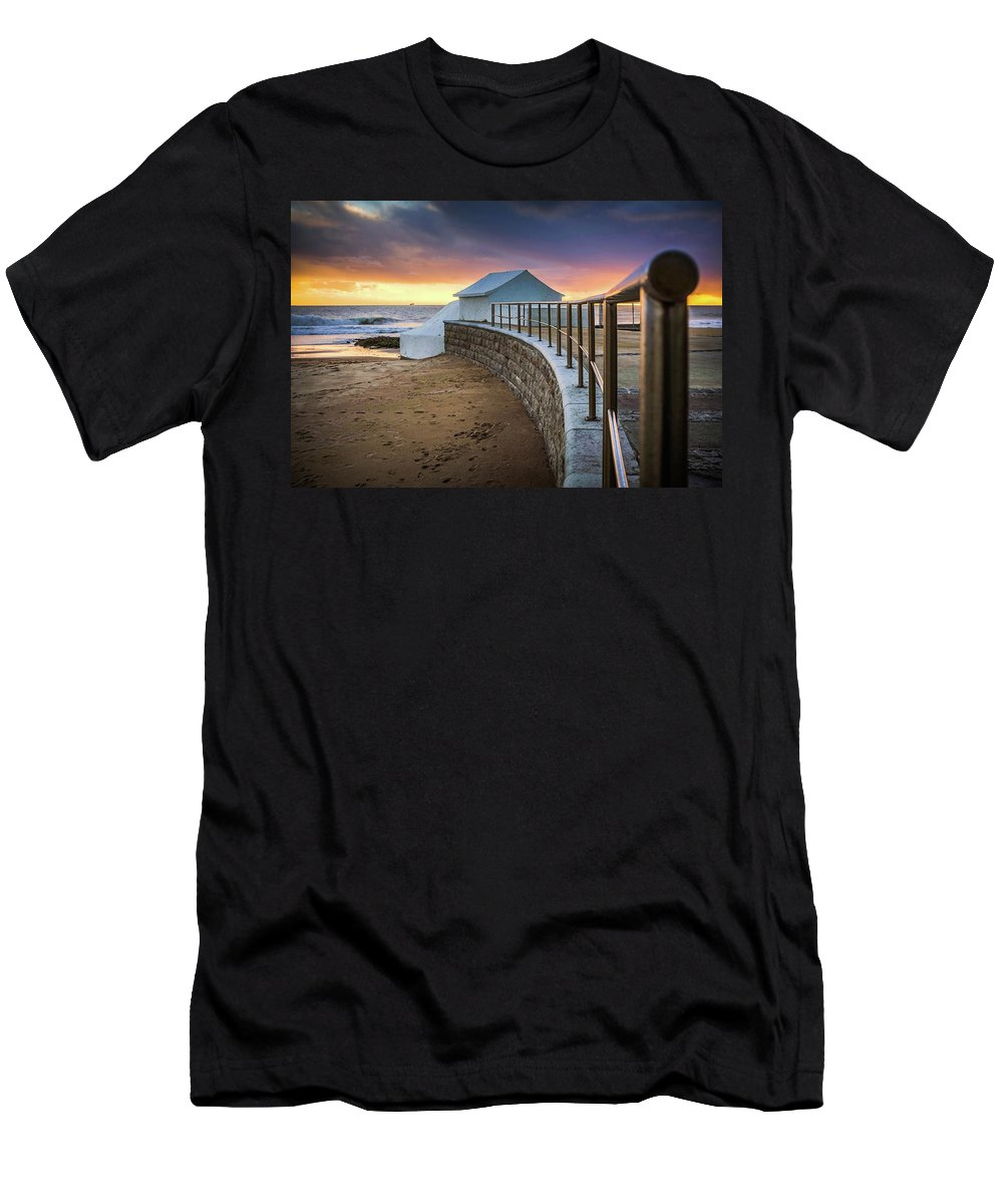 Sunset Men's T-Shirt (Athletic Fit) featuring the photograph Carcavelosbeach - Portugal by CarlosCaetano