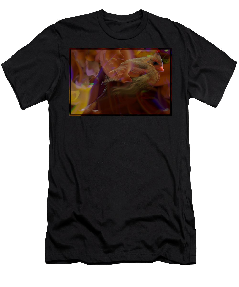 Jenny Gandert Men's T-Shirt (Athletic Fit) featuring the digital art Cardinal And Abstract by Jenny Gandert