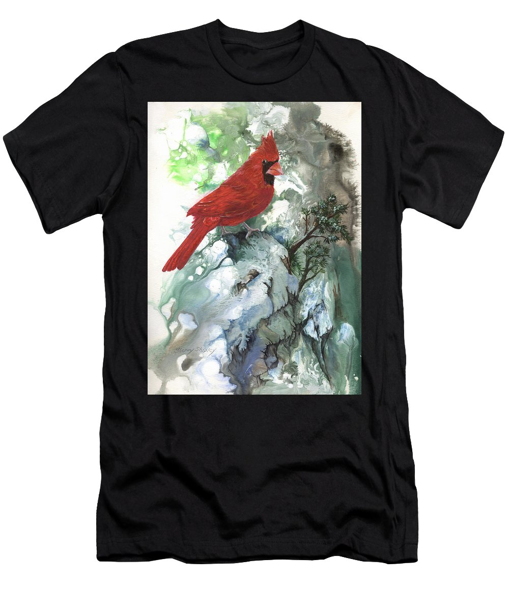 Bird Men's T-Shirt (Athletic Fit) featuring the painting Cardinal by Sherry Shipley