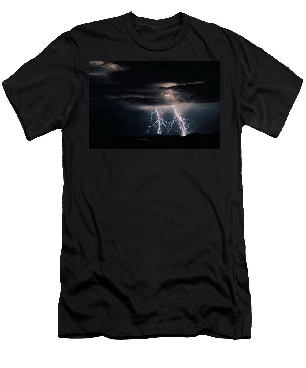 Arizona Men's T-Shirt (Athletic Fit) featuring the photograph Carefree Lightning by Cathy Franklin