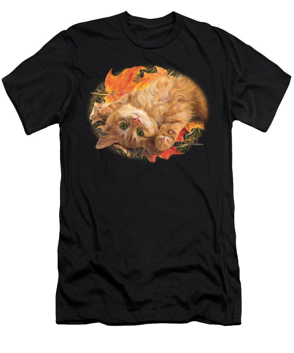 Cat Men's T-Shirt (Athletic Fit) featuring the painting Carefree by Lucie Bilodeau