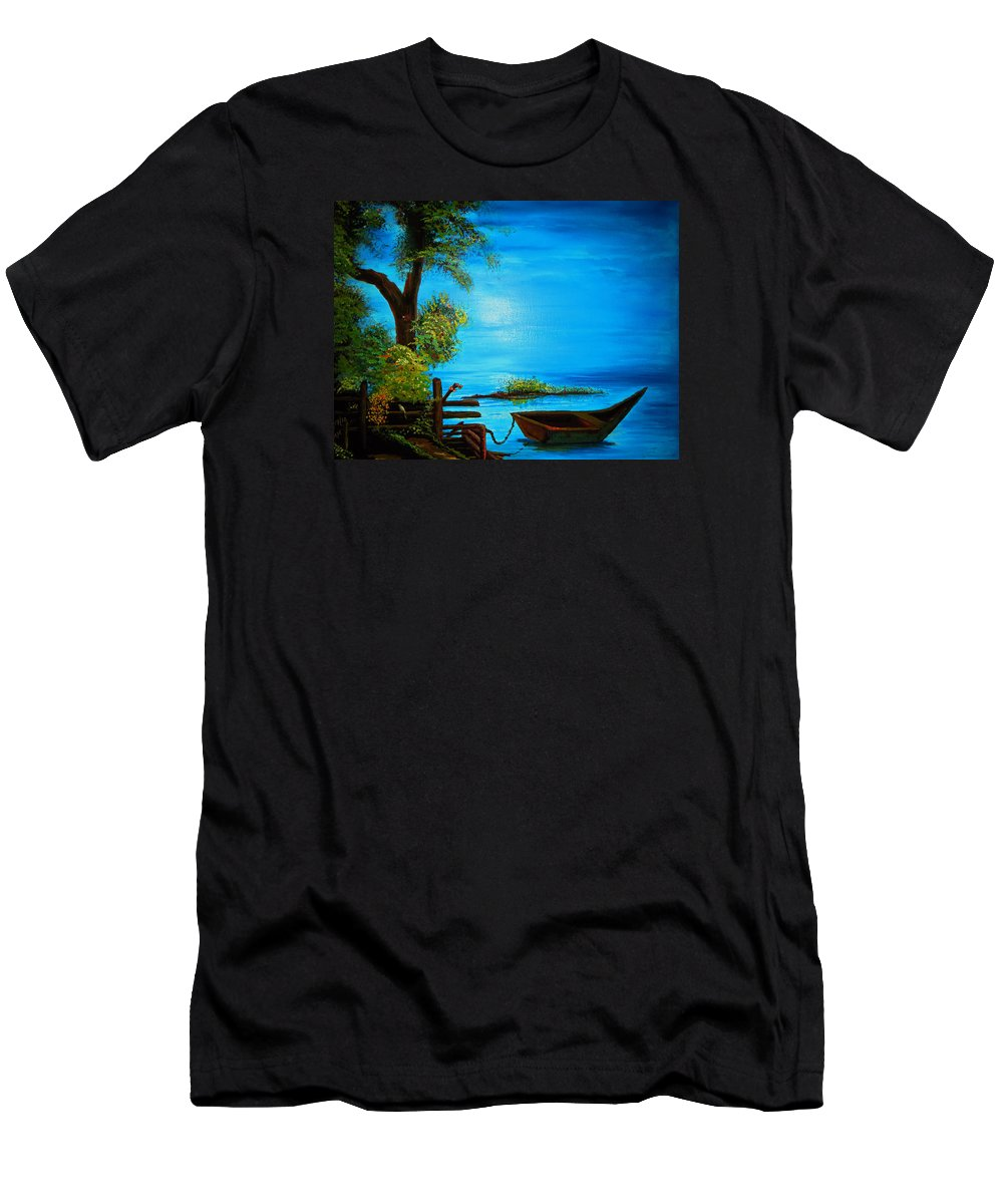 Hill Men's T-Shirt (Athletic Fit) featuring the painting Caribbean Bueaty by Abey Mekonnen