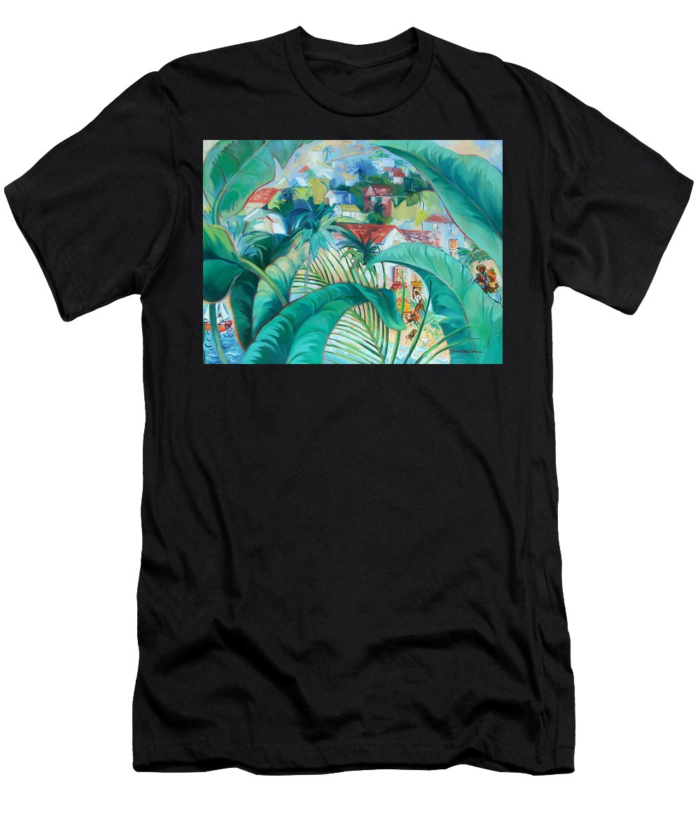Caribbean Figures Men's T-Shirt (Athletic Fit) featuring the painting Caribbean Fantasy by Dianna Willman
