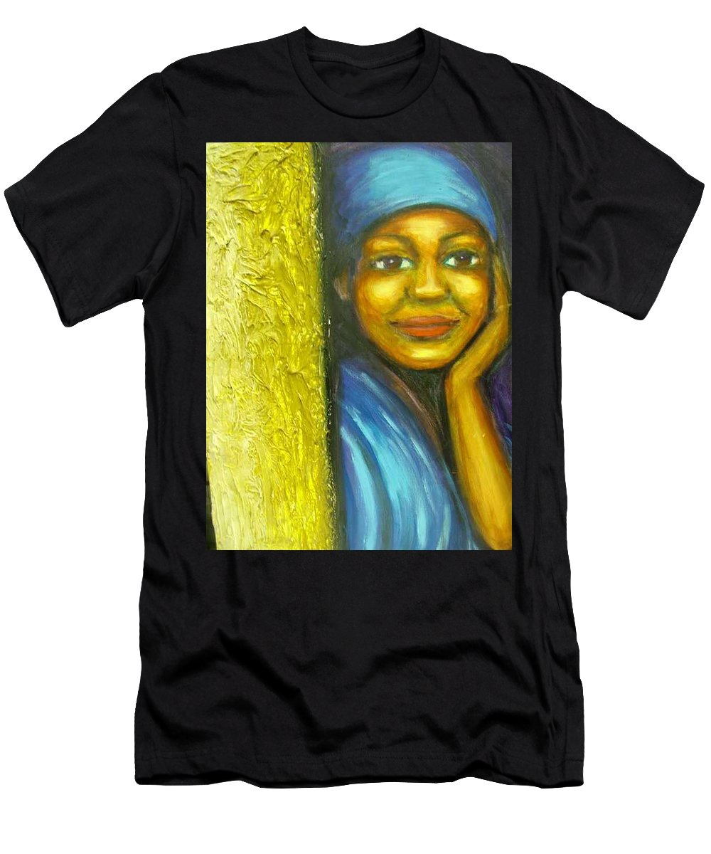 Men's T-Shirt (Athletic Fit) featuring the painting Caribbean Mystery Lady by Jan Gilmore
