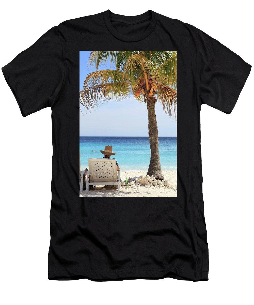 Palmtree Men's T-Shirt (Athletic Fit) featuring the photograph Caribbean Standards by Lucas Van Es