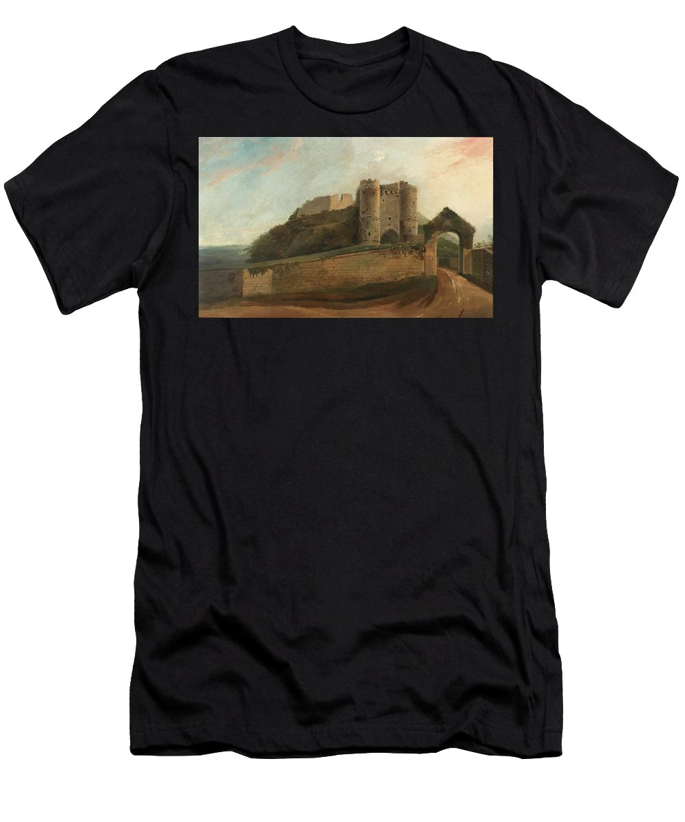 Carisbrooke Men's T-Shirt (Athletic Fit) featuring the painting Carisbrooke Castle by Daniel Turner