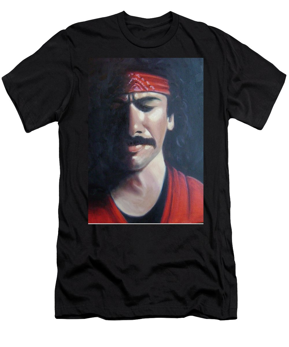 Santana Men's T-Shirt (Athletic Fit) featuring the painting Carlos Santana by Toni Berry