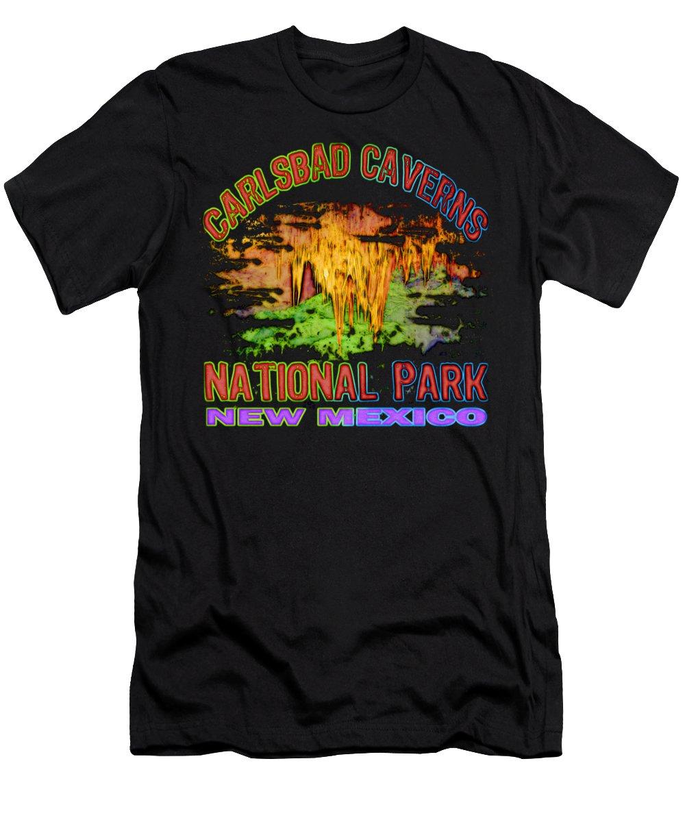 Carlsbad Caverns National Park Men's T-Shirt (Athletic Fit) featuring the digital art Carlsbad Caverns National Park by David G Paul