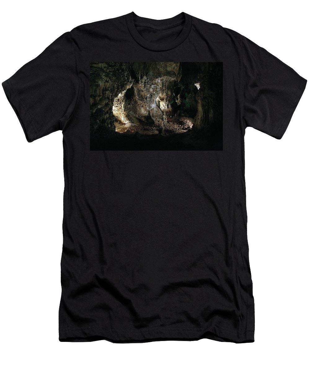 Cave Men's T-Shirt (Athletic Fit) featuring the photograph Carlsbad Tunnels by Alycia Christine