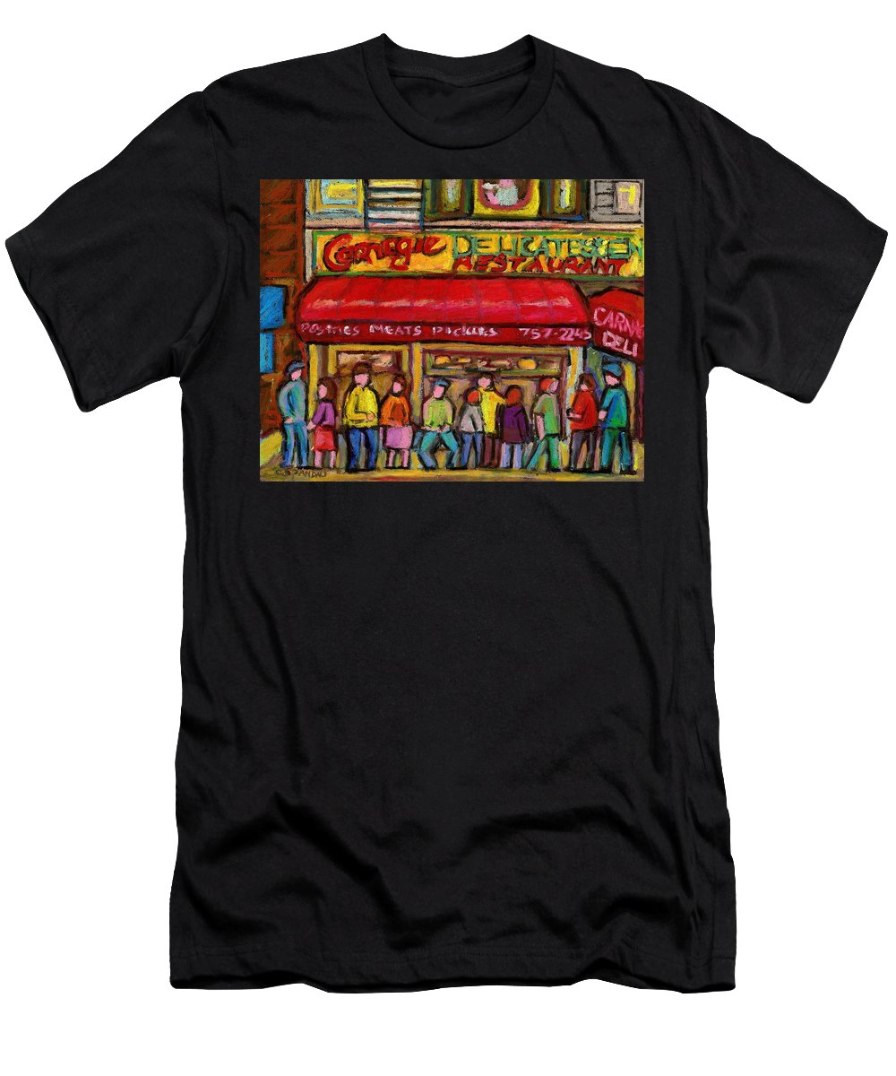 Carnegie's Deli Men's T-Shirt (Athletic Fit) featuring the painting Carnegie's Deli by Carole Spandau