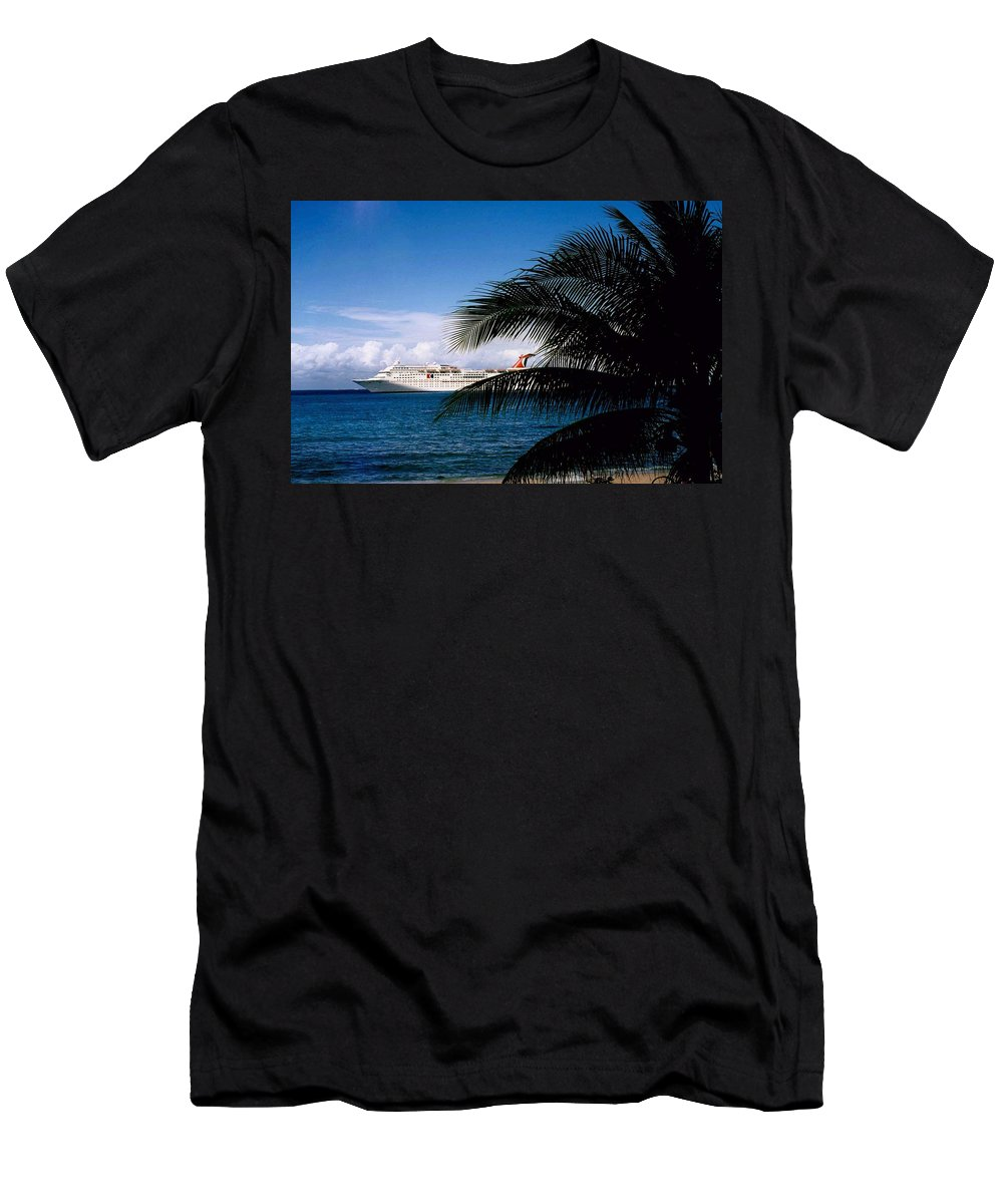 Druise Men's T-Shirt (Athletic Fit) featuring the photograph Carnival Docked At Grand Cayman by Gary Wonning
