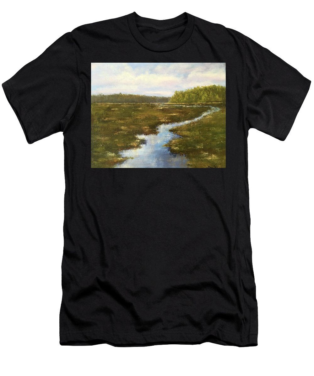 Men's T-Shirt (Athletic Fit) featuring the painting Carolina Creek And Marsh by Rosie Phillips