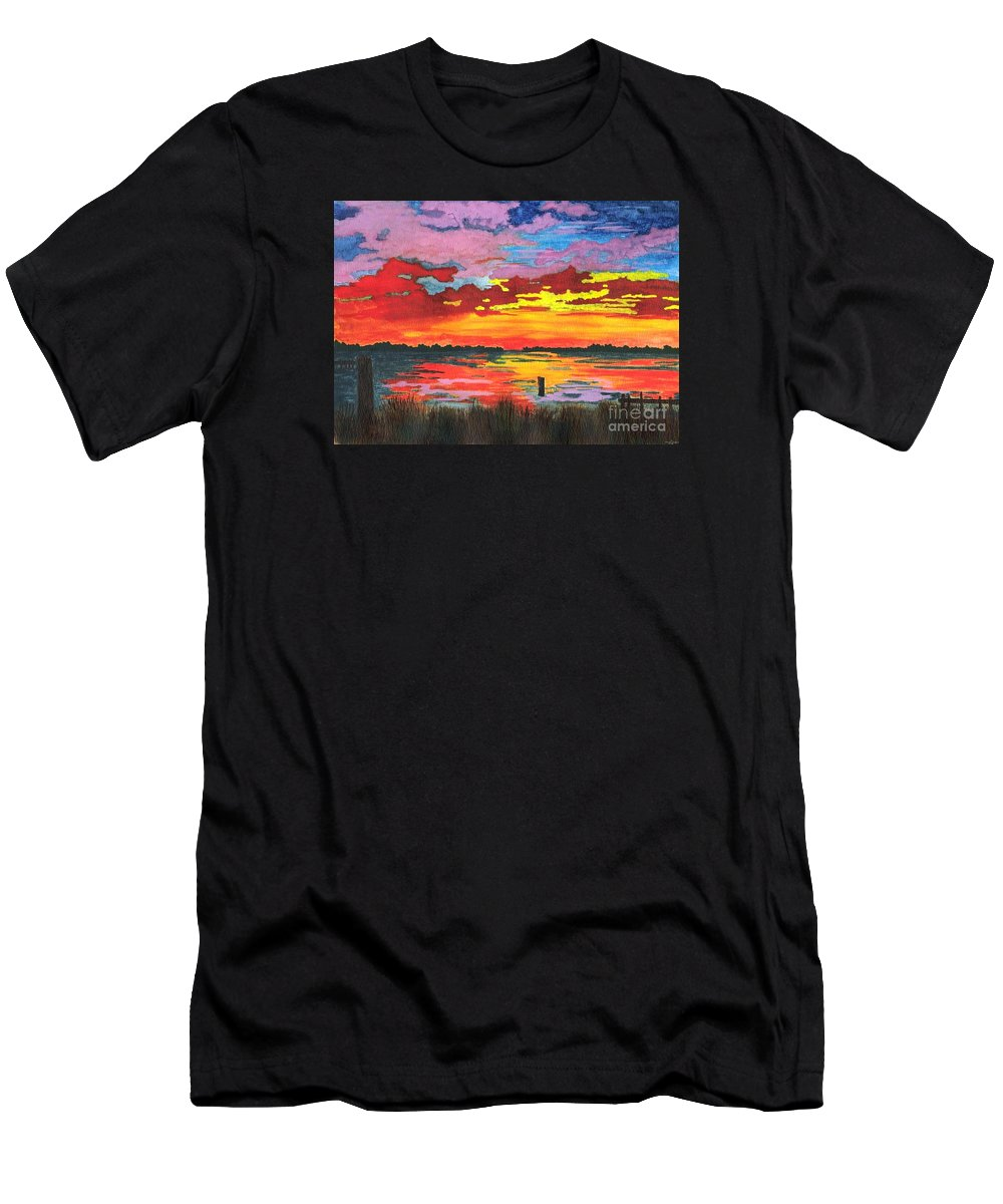 Original Painting Men's T-Shirt (Athletic Fit) featuring the painting Carolina Sunset by Patricia Griffin Brett