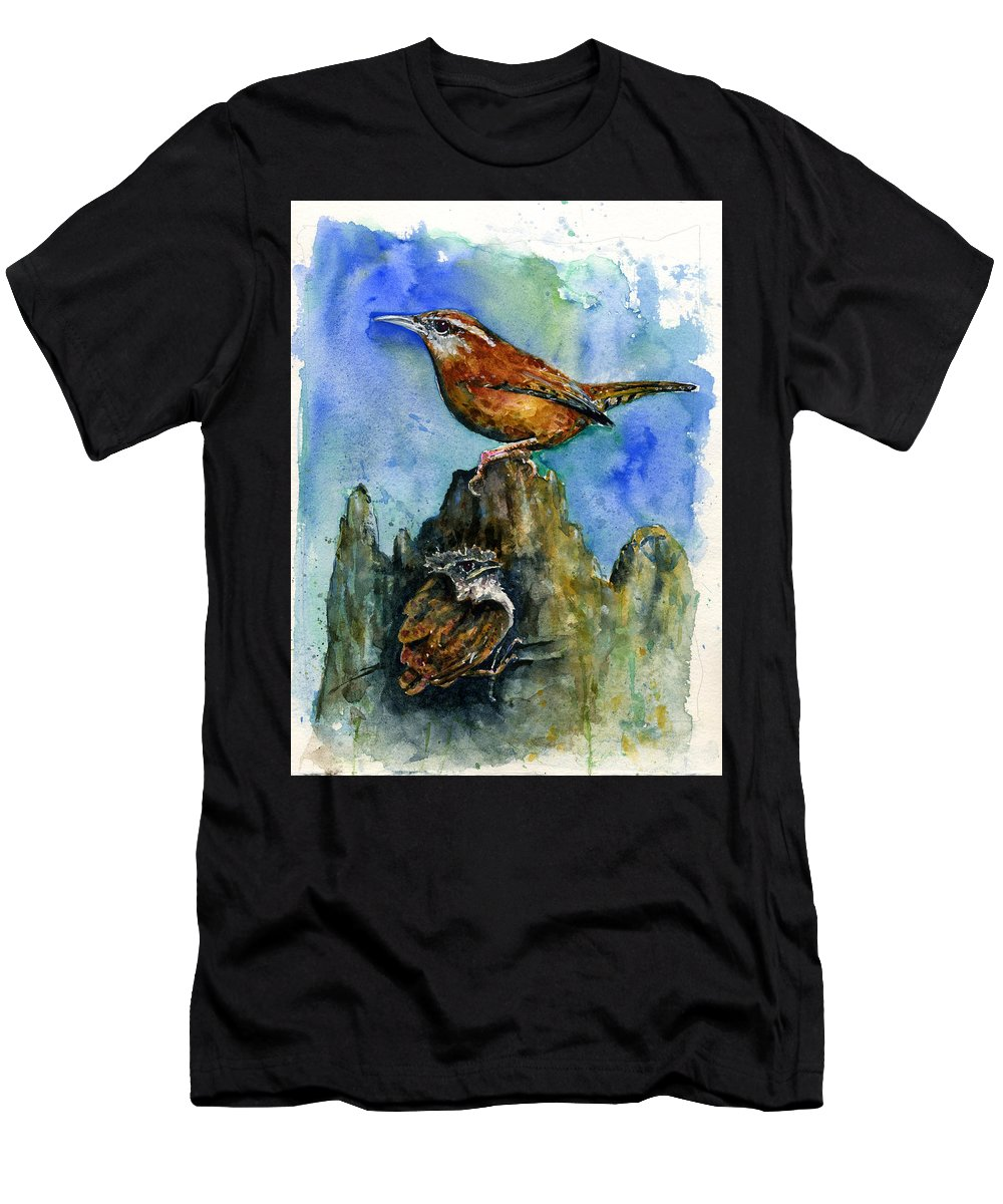 Wren Men's T-Shirt (Athletic Fit) featuring the painting Carolina Wren And Baby by John D Benson