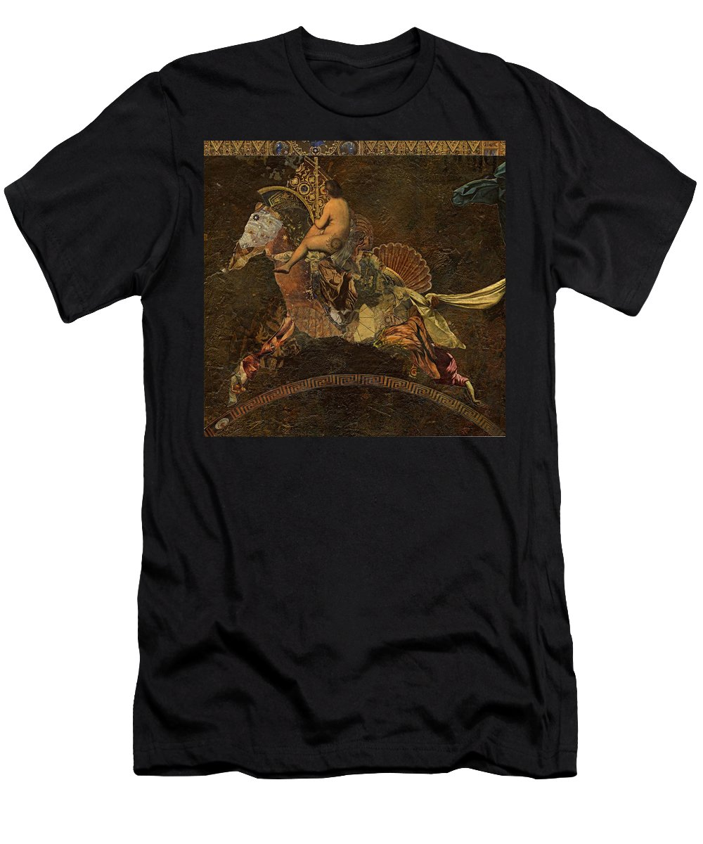 Merry-go-round Men's T-Shirt (Athletic Fit) featuring the mixed media Carousel by Dick Allowatt