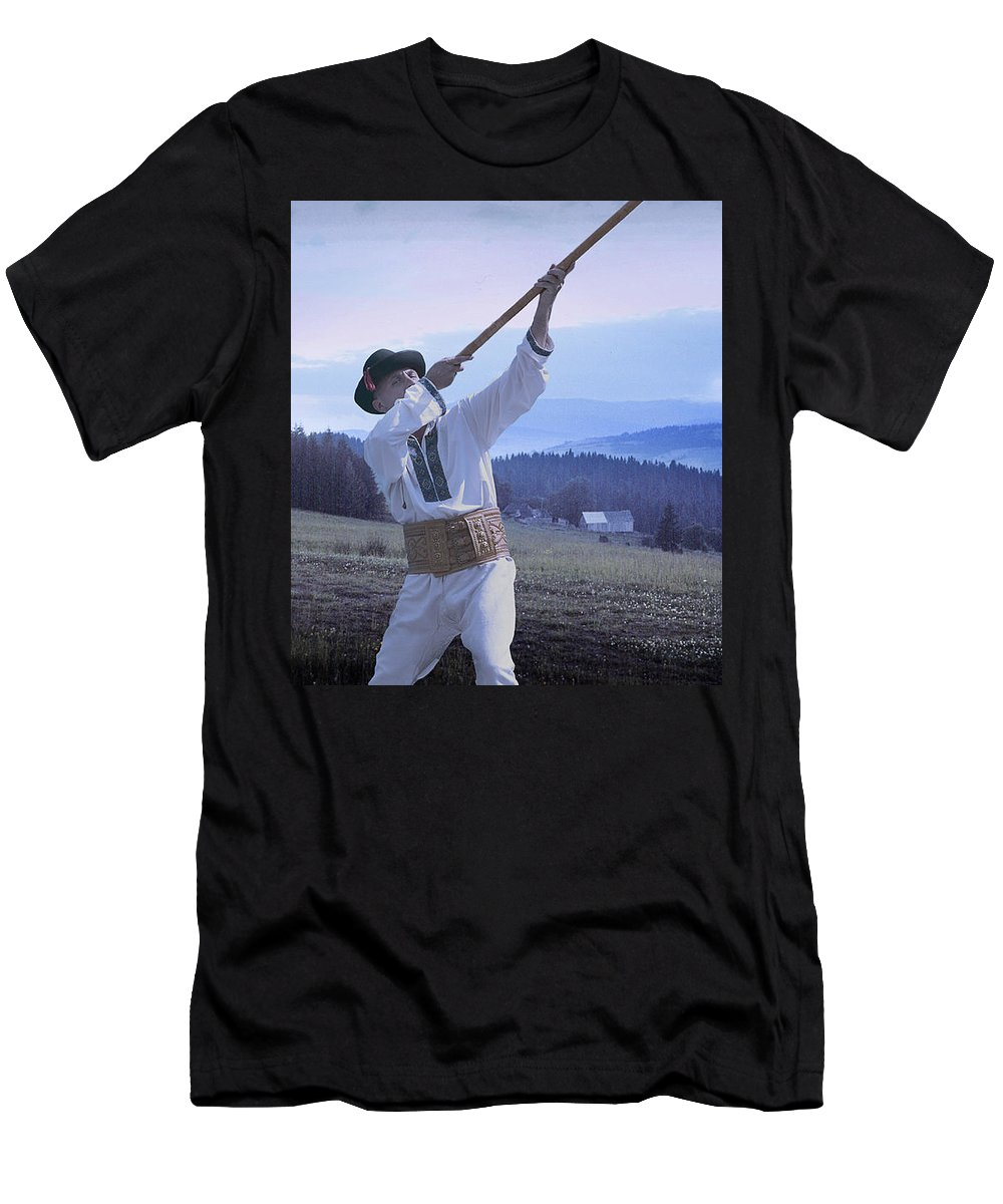 Ethnic Men's T-Shirt (Athletic Fit) featuring the photograph Carpathian Highlander by Yuri Lev