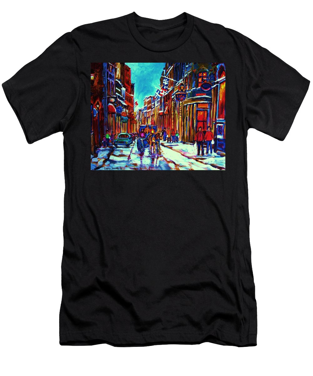 Old Montreal Men's T-Shirt (Athletic Fit) featuring the painting Carriage Ride Through The Old City by Carole Spandau
