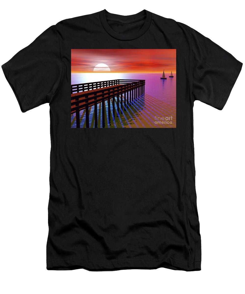 Beach Men's T-Shirt (Athletic Fit) featuring the digital art Carribean Sunset Pier by Nicholas Burningham