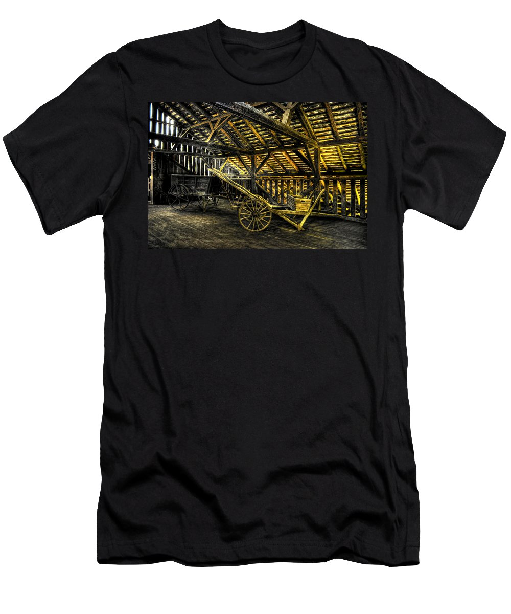 Farm Men's T-Shirt (Athletic Fit) featuring the photograph Carts Before The Horse by Scott Wyatt