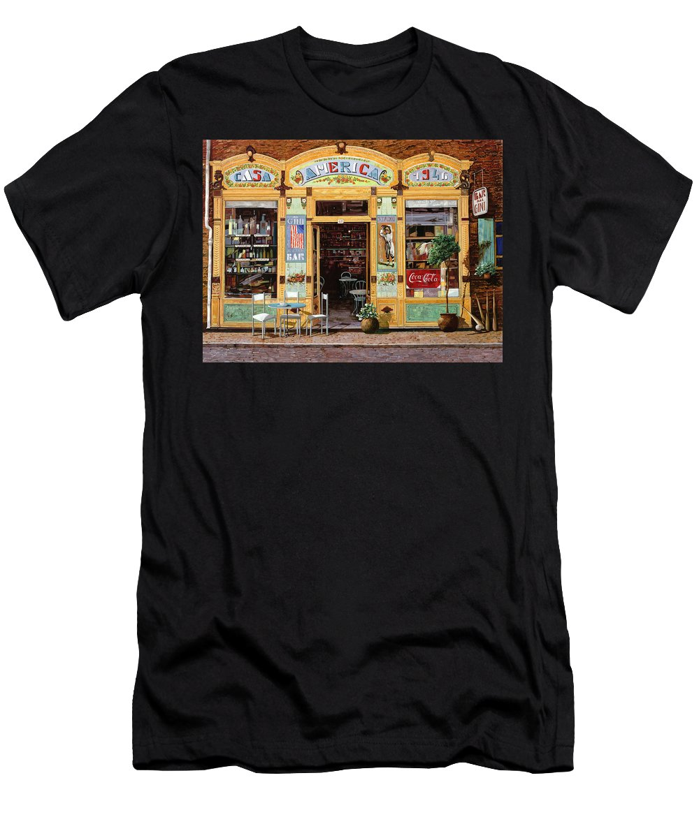 Coffe Shop Men's T-Shirt (Athletic Fit) featuring the painting Casa America by Guido Borelli