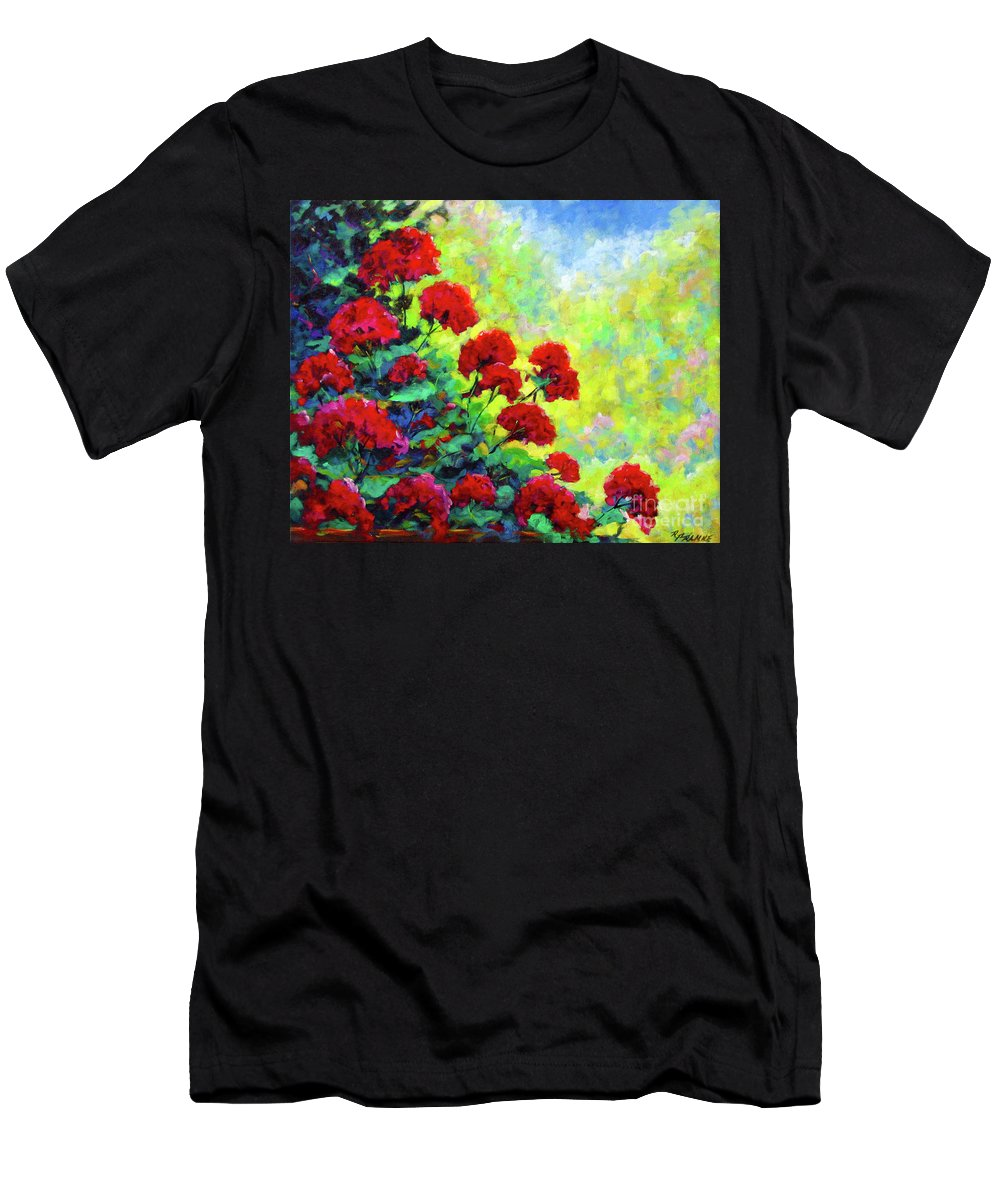Art Original Men's T-Shirt (Athletic Fit) featuring the painting Cascade Of Geraniums by Richard T Pranke