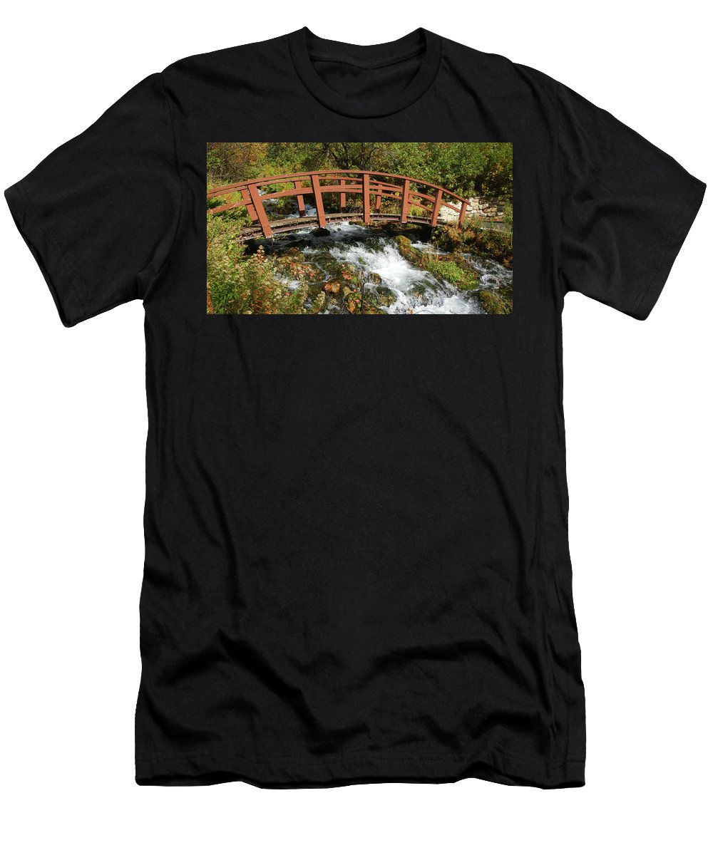Cascad Springs Men's T-Shirt (Athletic Fit) featuring the photograph Cascade Springs With Bridge by Ron Brown Photography