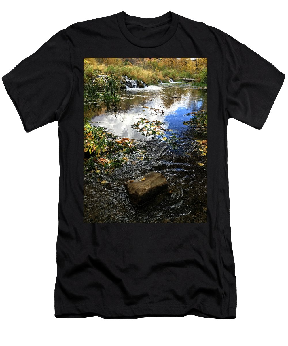 Cascade Springs Men's T-Shirt (Athletic Fit) featuring the photograph Cascade Springs With Rock by Ron Brown Photography