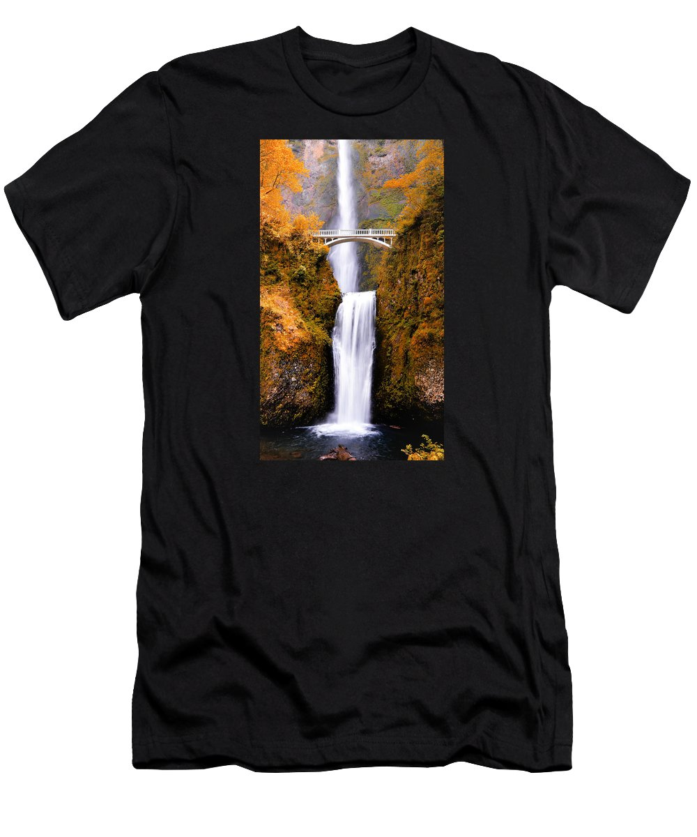 Multnomah Falls Men's T-Shirt (Athletic Fit) featuring the photograph Cascading Gold Waterfall by Athena Mckinzie