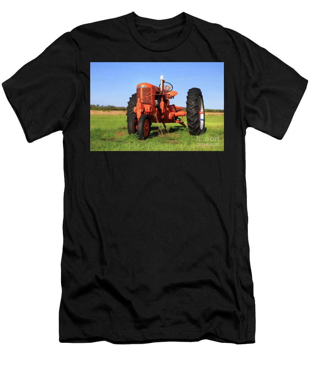 Orange Men's T-Shirt (Athletic Fit) featuring the photograph Case Tractor by Lori Deiter