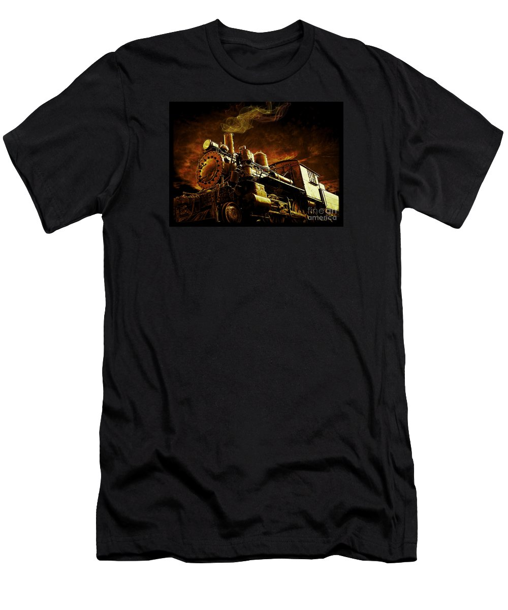 Train Men's T-Shirt (Athletic Fit) featuring the photograph Casey Jones And The Cannonball Express by Edward Fielding