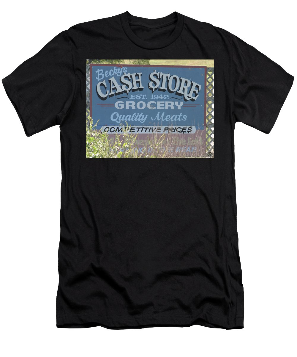 Signs Men's T-Shirt (Athletic Fit) featuring the photograph Cash Is King by Bjorn Sjogren