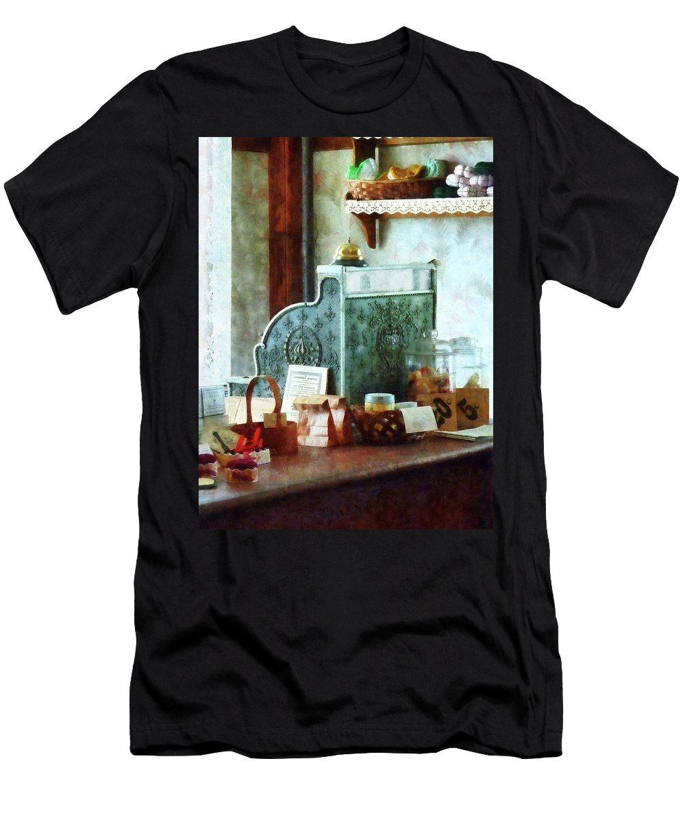 Cash Register Men's T-Shirt (Athletic Fit) featuring the photograph Cash Register In General Store by Susan Savad