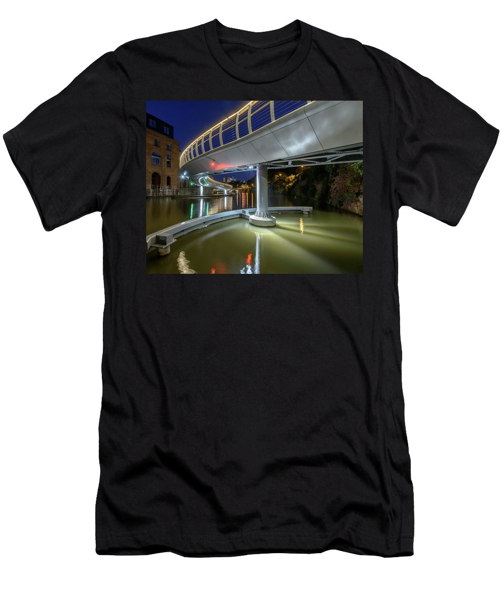 Architecture Men's T-Shirt (Athletic Fit) featuring the photograph Castle Bridge C By Night Bristol England by Jacek Wojnarowski