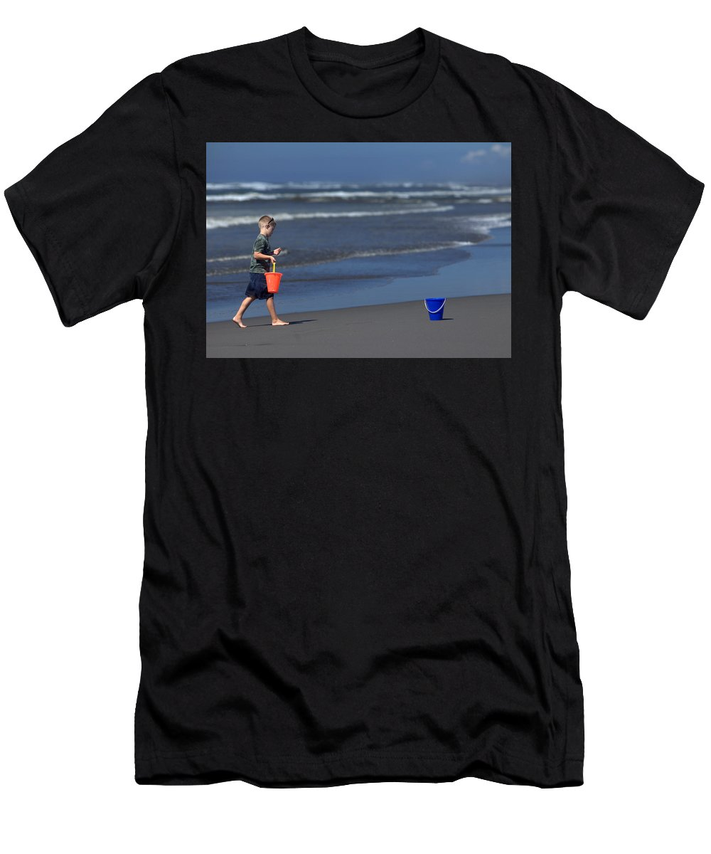 Beach Men's T-Shirt (Athletic Fit) featuring the photograph Castle Builder. by Spirit Vision Photography