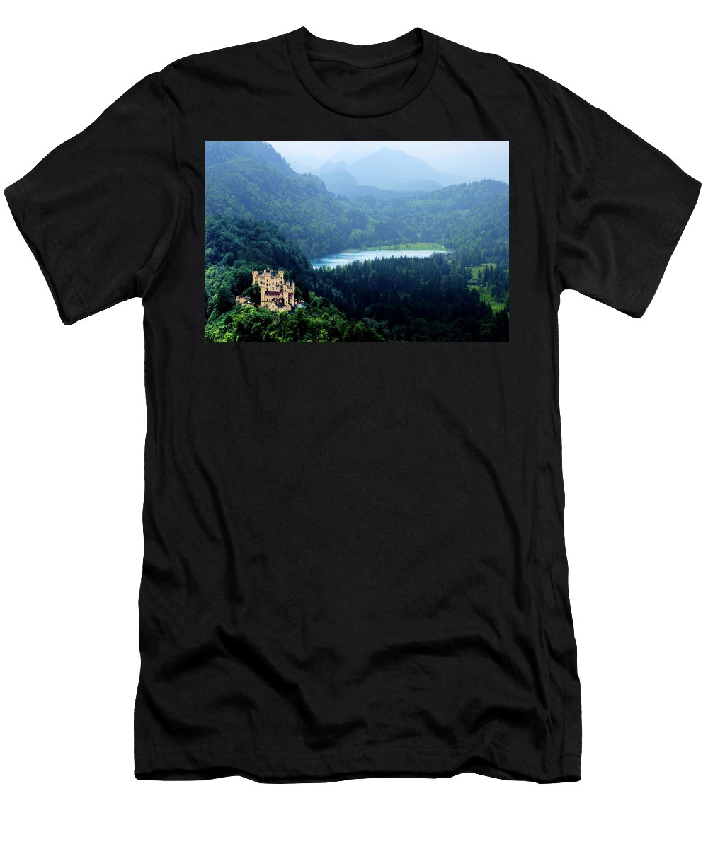 Castle Men's T-Shirt (Athletic Fit) featuring the photograph Castle Hohenschwangau 2 by Wolfgang Stocker