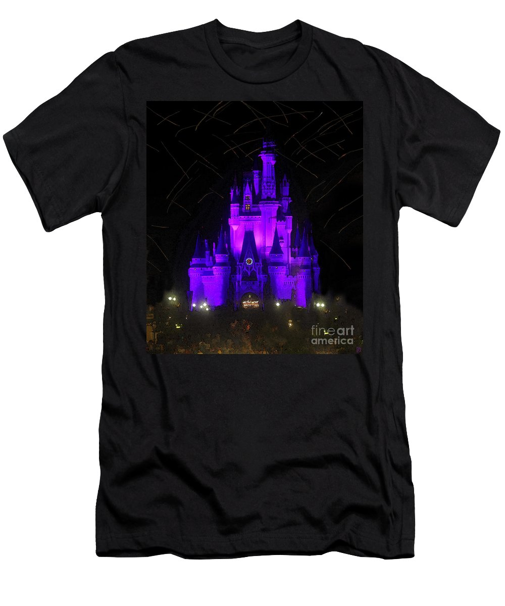 Castle Men's T-Shirt (Athletic Fit) featuring the painting Castle Of Cinderella by David Lee Thompson