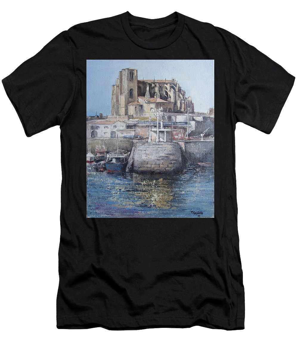 Castro Men's T-Shirt (Athletic Fit) featuring the painting Castro Urdiales by Tomas Castano